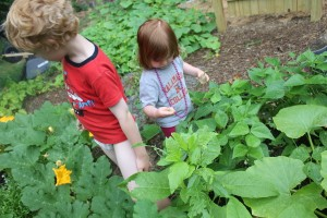 children in garden