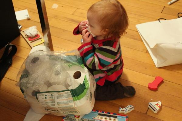toddler tasting toilet paper