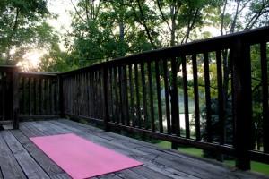 yoga mat  in morning