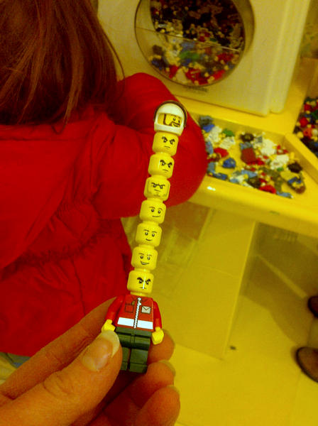 Lego Store mini figs wearing many hats - heads