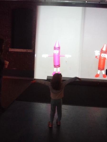 Crayola Experience - preschooler mimicking crayon