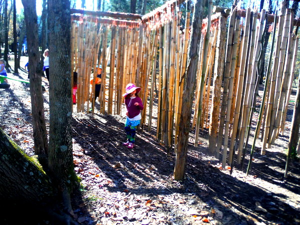Crunchy-Chewy Mama kids in bamboo at pumpkin patch